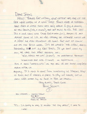 Kevin Seconds terribly polite 1983 letter to Jason