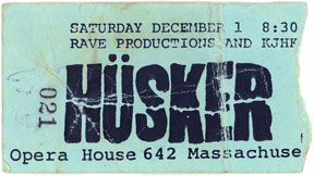 N.O.T.A. ticket stub (with Hüsker Dü, Micronotz, Orange Doe-Nuts), 12-01-84