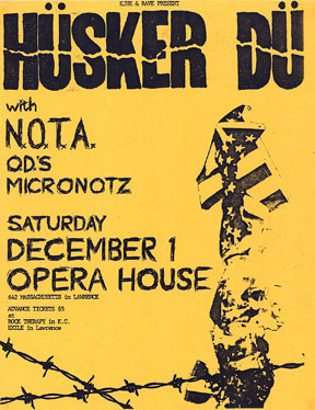 N.O.T.A. flyer (with Hüsker Dü, Micronotz, Orange Doe-Nuts), 12-01-84