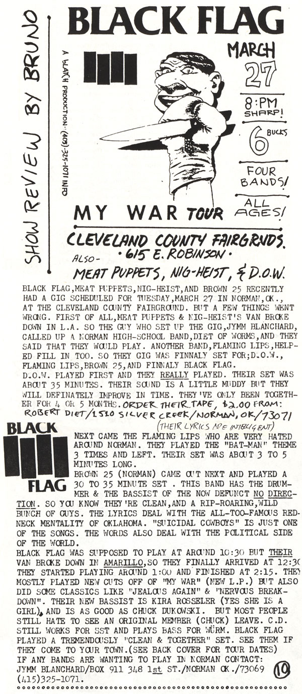 Black Flag, Brown 25, Flaming Lips, Diet of Worms show review from Room 101 #2